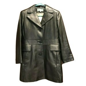 Ann Taylor Black Leather Coat  Button Lined 4